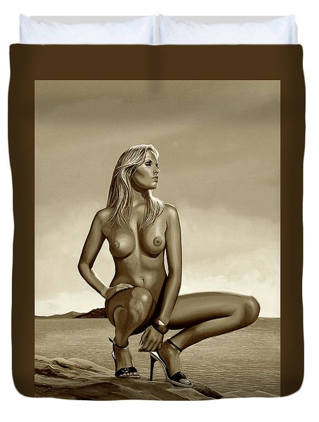 Nude Blond Beauty Sepia Duvet Cover