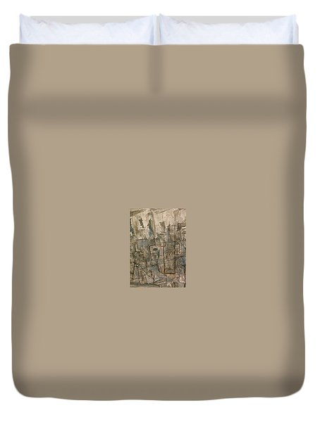 Duvet Cover featuring the painting Nude Descending Stairs In Nyc by Robert Anderson