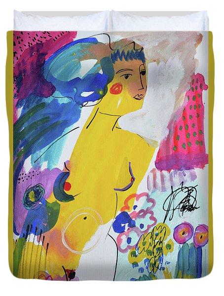 Nude In A Garden Duvet Cover