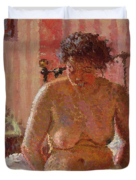 Nude In An Interior Duvet Cover by Harold Gilman