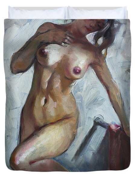 Nude In Shower Duvet Cover by Ylli Haruni