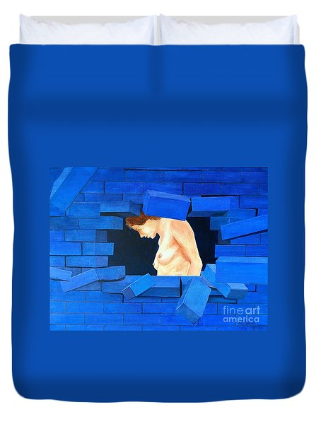 Nude Lady Through Exploding Wall Duvet Cover