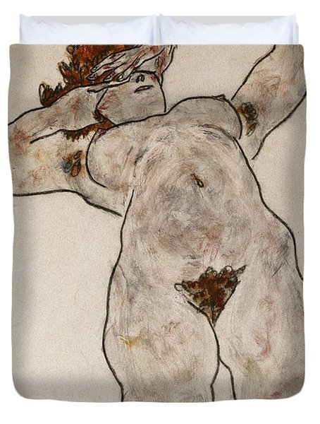 Nude Lying Down Duvet Cover by Egon Schiele