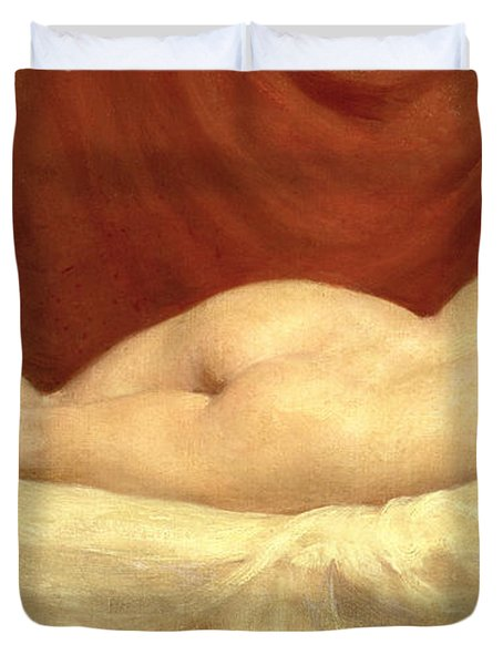 Nude Lying On A Sofa Against A Red Curtain Duvet Cover by William Etty