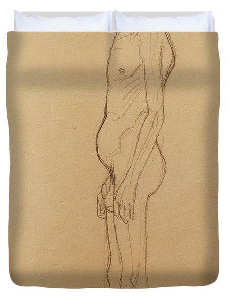 Nude Man Duvet Cover by Gustav Klimt