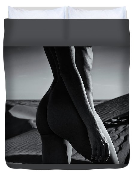 Nude On Desert Sandy Dunes Duvet Cover by Amyn Nasser