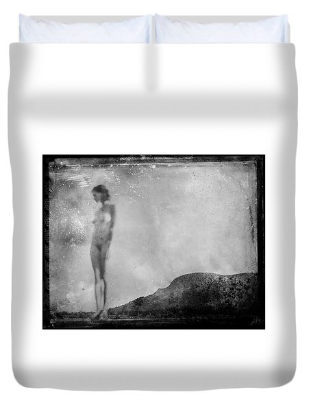Duvet Cover featuring the photograph Nude On The Fence, Galisteo by Jennifer Wright
