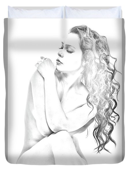 Nude Sketch Duvet Cover by Kiran Joshi