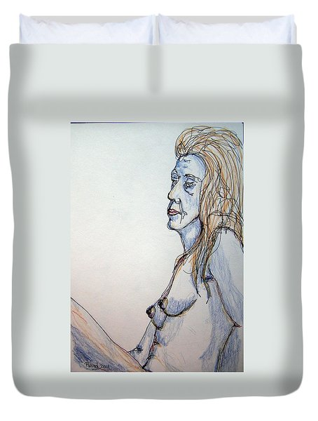 Nude With Blues Duvet Cover by Rand Swift
