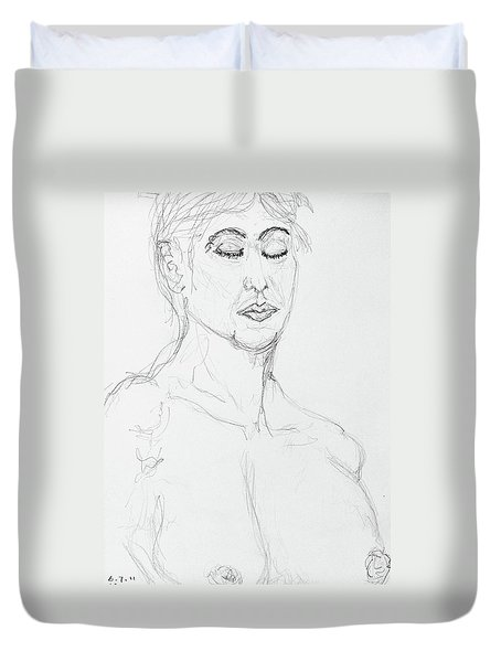Nude With Eyes Closed Duvet Cover by Rand Swift