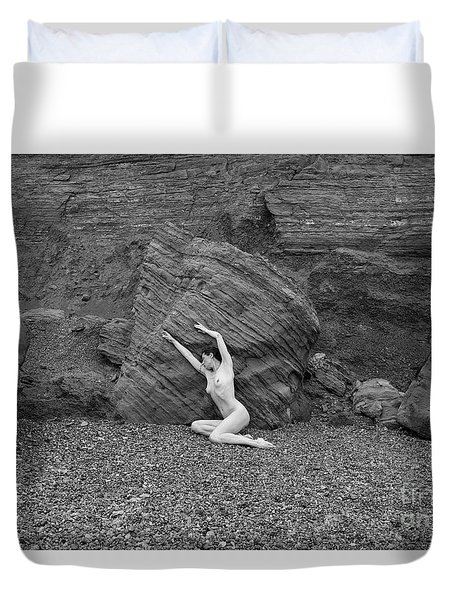 Nude Woman Pulling Shape By Rocks Duvet Cover