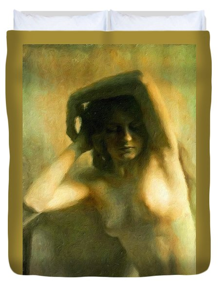 Nude Woman Duvet Cover by Vincent Monozlay