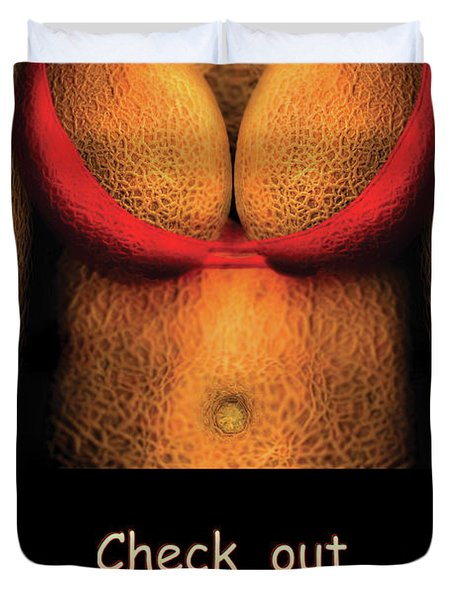 Nudist - Check Out Those Melons - Nudist Grocer Duvet Cover by Mike Savad