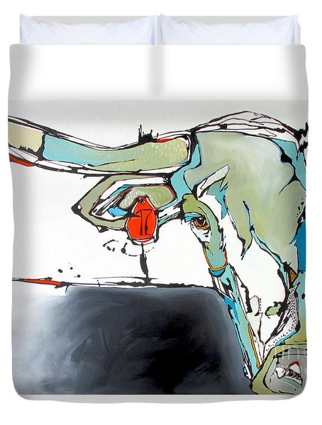 Number 17 Longhorn Steer Duvet Cover by Nicole Gaitan