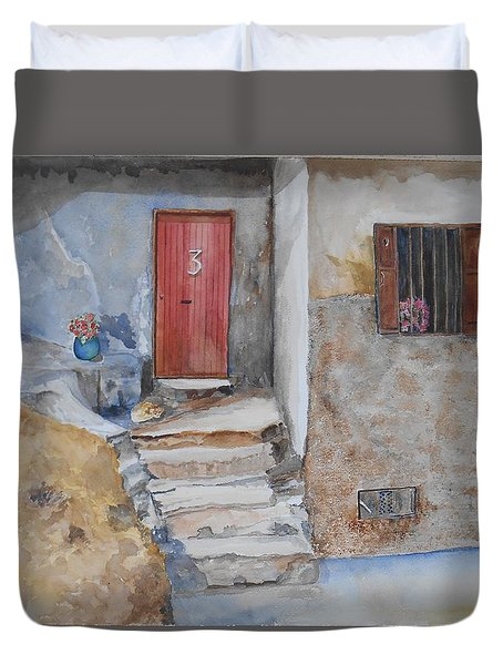 Number 3 Duvet Cover by Christine Lathrop