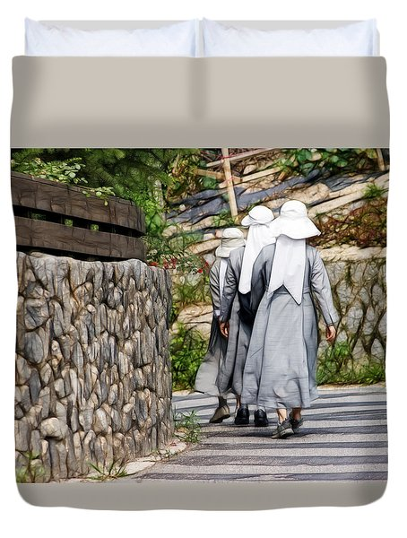 Nuns In A Row Duvet Cover