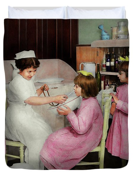 Duvet Cover featuring the photograph Nurse - Playing Nurse 1918 by Mike Savad