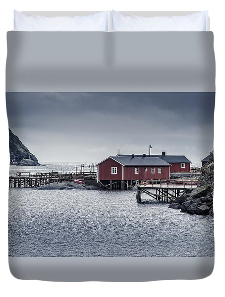 Duvet Cover featuring the photograph Nusfjord Rorbu by James Billings