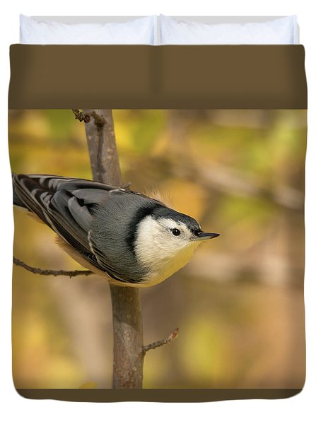 Nuthatch In Fall Duvet Cover