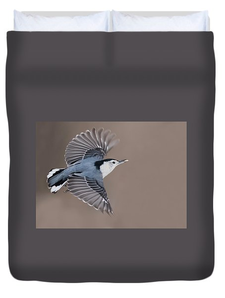 Duvet Cover featuring the photograph Nuthatch In Flight by Mircea Costina Photography