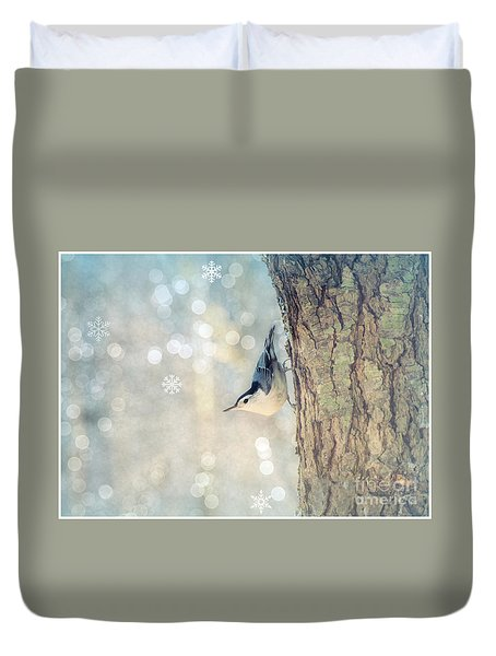Duvet Cover featuring the photograph Nuthatch Season's Greetings by Rima Biswas