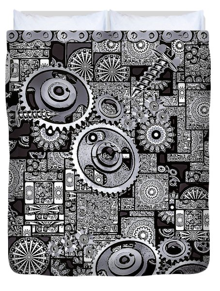 Duvet Cover featuring the digital art Nuts And Bolts by Eleni Mac Synodinos