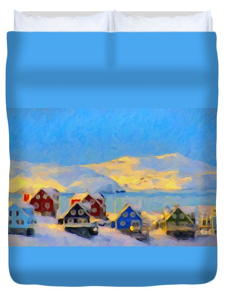 Nuuk, Greenland Duvet Cover by Chris Armytage