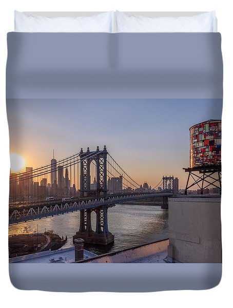 Ny Sunset  Duvet Cover by Anthony Fields