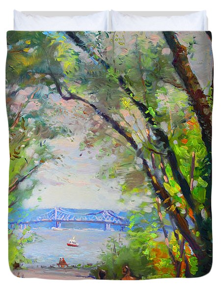 Nyack Park A Beautiful Day For A Walk Duvet Cover