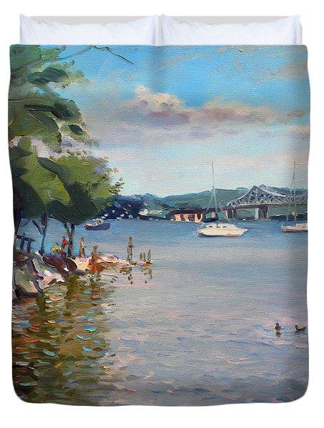 Nyack Park By Hudson River Duvet Cover