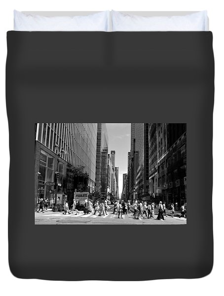 Nyc 42nd Street Crosswalk Duvet Cover