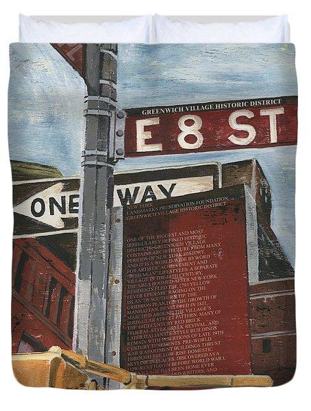 Nyc 8th Street Duvet Cover by Debbie DeWitt