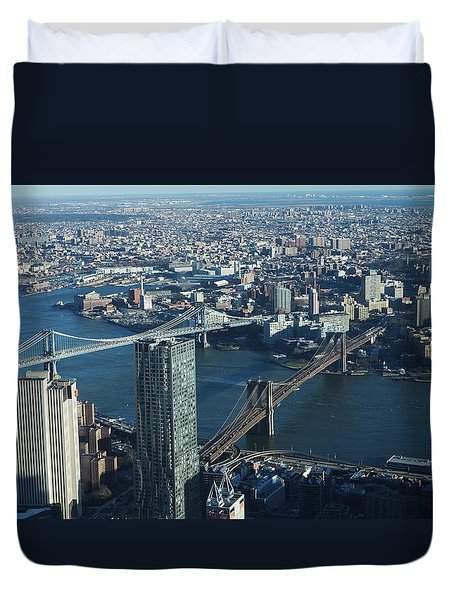 Duvet Cover featuring the photograph Nyc Bridges by Matthew Bamberg
