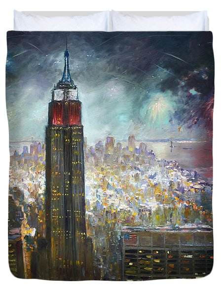 Nyc. Empire State Building Duvet Cover by Ylli Haruni