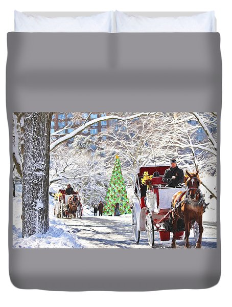 Festive Winter Carriage Rides Duvet Cover by Sandi OReilly
