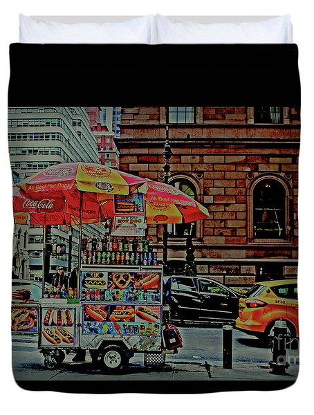 Duvet Cover featuring the photograph New York City Food Cart by Sandy Moulder