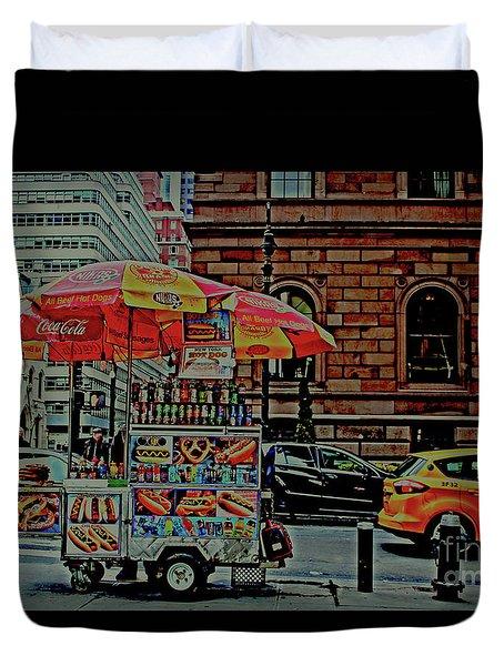 New York City Food Cart Duvet Cover by Sandy Moulder