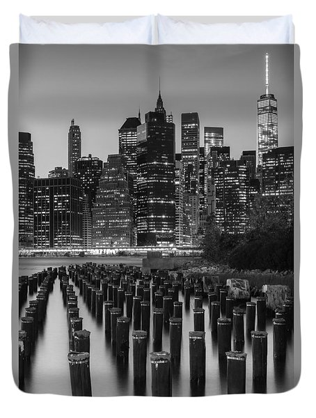 Duvet Cover featuring the photograph Nyc Skyline Bw by Laura Fasulo