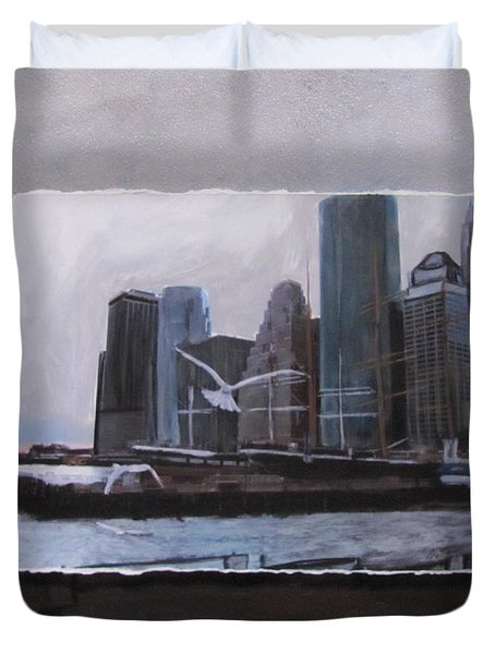 Nyc Pier 11 Layered Duvet Cover by Anita Burgermeister
