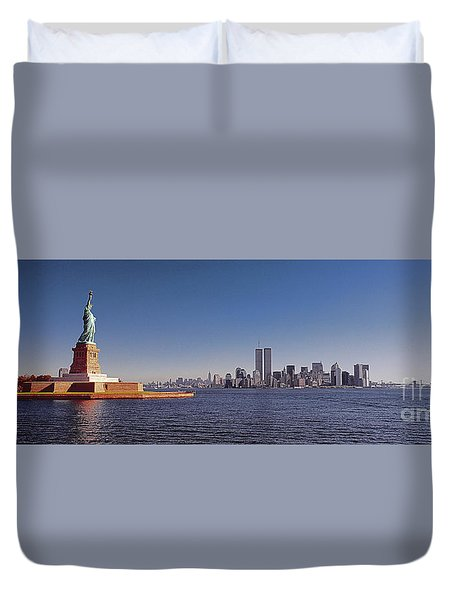 New, York, City, Skyline, Twin, Towers, Statue Of Liberty  Duvet Cover