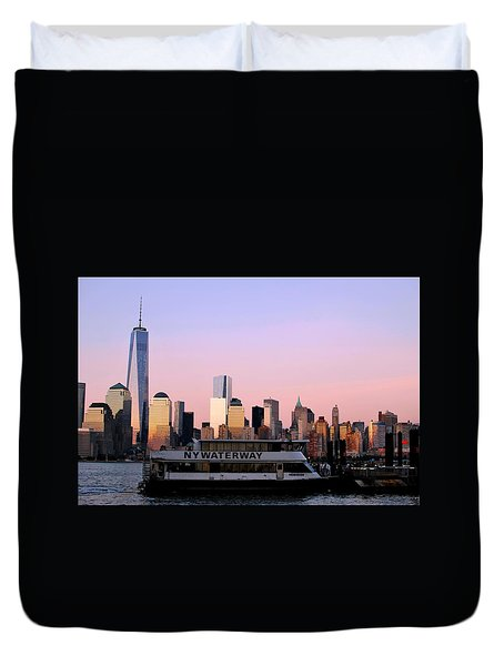 Nyc Skyline With Boat At Pier Duvet Cover