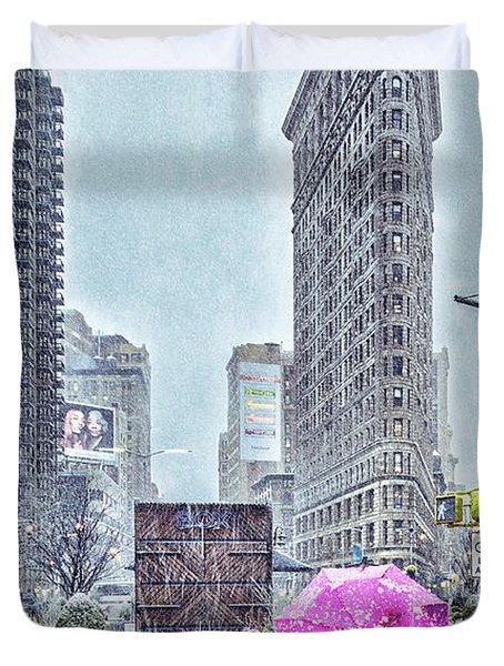 Nyc Snowy Scene Duvet Cover