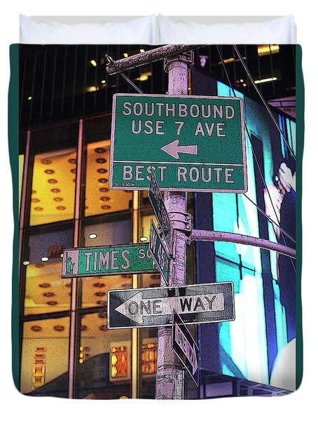 Nyc Street Sign Duvet Cover