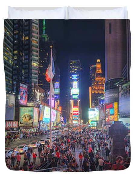 Nyc Times Square Panorama Duvet Cover