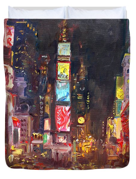 Nyc Times Square Duvet Cover by Ylli Haruni
