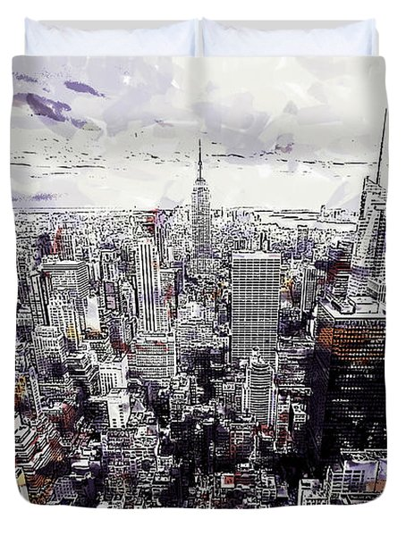 Nyc View From Rockefeller Center Duvet Cover