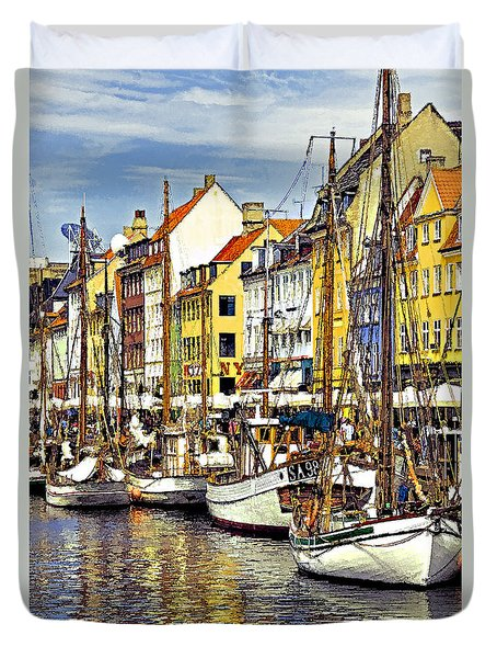 Duvet Cover featuring the photograph Nyhavn by Dennis Cox WorldViews