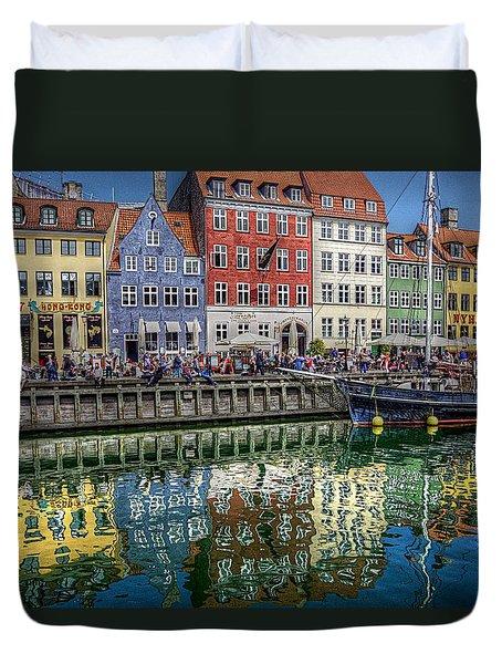 Nyhavn Harbor Area, Copenhagen Duvet Cover by Karen McKenzie McAdoo