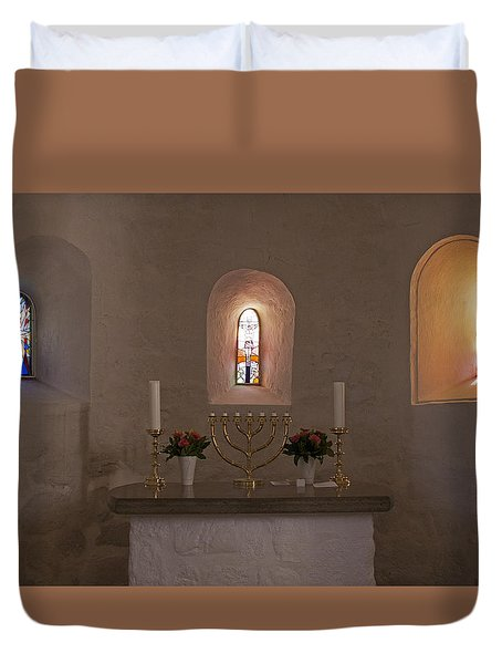 Duvet Cover featuring the photograph Nyker Round Church Altar by Inge Riis McDonald