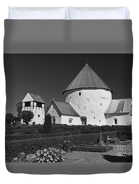 Duvet Cover featuring the photograph Nyker Round Church by Inge Riis McDonald